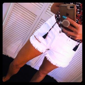 NWOT Forever 21 white distressed shorts